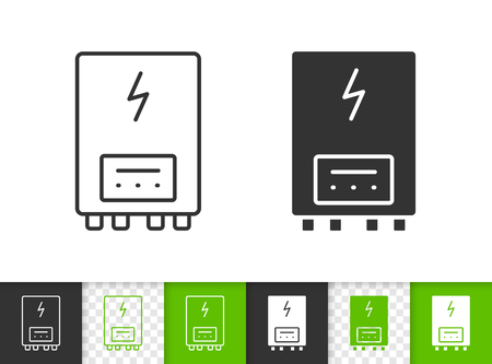 Electric water heater black linear and silhouette icons. Thin line sign of boiler. Climatic equipment outline pictogram isolated on white, color, transparent. Vector Icon Heater simple symbol closeup Illustration