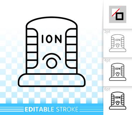 Ionizer thin line icon. Outline web sign of ionizator. Ozonator linear pictogram with different stroke width. Simple vector symbol, transparent background. Ionizing editable stroke icon without fill