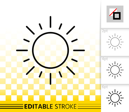 Sun thin line icon. Outline sign of sunny. Sunlight linear pictogram with different stroke width. Simple vector symbol, transparent background. Sun shine good weather editable stroke icon without fill
