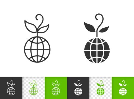 Globe black linear and silhouette icons. Thin line sign of organic sprout. Save nature outline pictogram isolated on white, color, transparent background. Vector Icon shape Globe simple symbol closeup