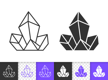 Topaz crystal black linear and silhouette icons. Thin line sign of gemstone. Mineral outline pictogram isolated on white violet transparent background. Vector Icon shape. Crystal simple symbol closeup