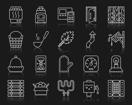 Sauna equipment thin line icons set. Outline sign kit of bathhouse. Spa linear icon collection includes paneling, hourglass, electric heater. Simple sauna symbol with reflection. Vector Illustration Stock Illustratie