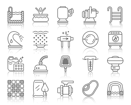 Swimming pool equipment thin line icons set. Outline sign of construction. Repair linear icon collection includes water heater, lamp, chlorine. Simple pool symbol with reflection vector Illustration