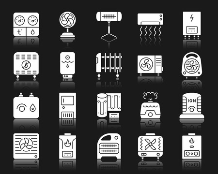 Hvac silhouette icons set. Isolated web sign kit of climatic equipment. Fan pictogram collection includes hygrometer, humidifier, convector. Simple hvac symbol with reflection. White vector icon shape