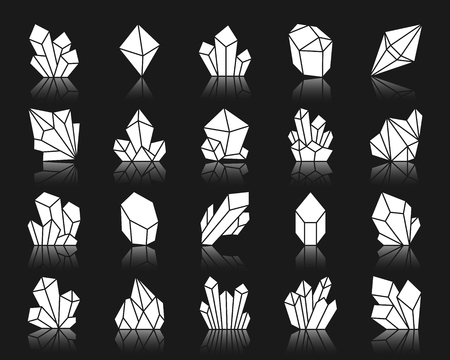Crystal silhouette icons set. Isolated web sign kit of gemstone. Mineral pictogram collection includes jewel, treasure, quartz. Simple crystal contour symbol with reflection. White vector icon shape