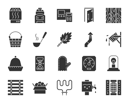 Sauna equipment silhouette icons set. Sign kit of bathhouse. Spa pictogram collection includes wood burning stove, ladle, hat. Simple sauna black symbol isolated on white. Vector Icon shape for stamp
