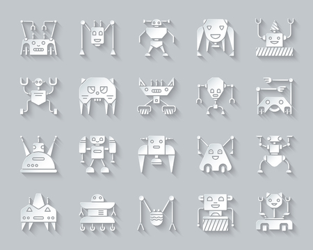 Robot paper cut art icons set. 3D web sign kit of character. Transformer pictogram collection includes toy, assistant, bot. Simple robot vector paper carved icon shape. Material design symbol