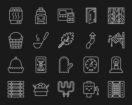 Sauna Equipment thin line icons set. Outline monochrome web sign kit of bathhouse. Spa linear icon collection includes hourglass, headrest, glass door. Simple sauna contour symbol vector Illustration Stock Illustratie
