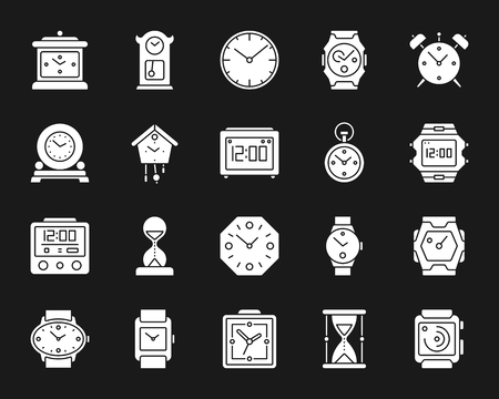 Watch silhouette icons set. Isolated web sign kit of alarm clock. Clock monochrome pictogram collection includes wristwatch, timer, hourglass. Simple white contour symbol. Watch vector Icon shape