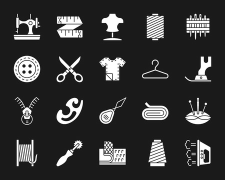 Sewing silhouette icons set. Isolated web sign kit of fashion. Embroidery monochrome pictogram collection includes knitting, sewing machine, zip. Simple white contour symbol. Sewing vector Icon shape