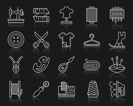 Sewing thin line icons set. Outline web sign kit of fashion. Embroidery linear icon collection includes textile, cloth, dummy. Simple sewing white contour symbol with reflection. Vector Illustration