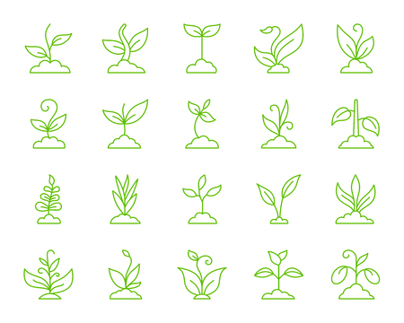 Grass thin line icons set. Outline monochrome sign kit of plant. Sprout linear icon collection includes bio, eco, save nature. Simple grass color contour symbol isolated on white. Vector Illustration Stock Illustratie
