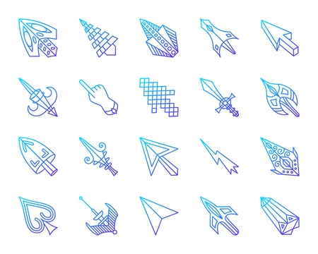 Mouse Cursor thin line icons set. Outline vector web sign kit of arrow. Click linear icon collection includes pointer, sword, hand. Modern violet gradient simple mouse cursor symbol isolated on white