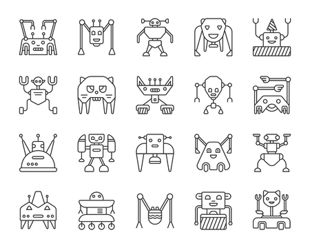 Robot thin line icons set. Outline web sign kit of character. Transformer linear icon collection includes toy, cat, spaceman. Simple robot black contour symbol isolated on white. Vector Illustration