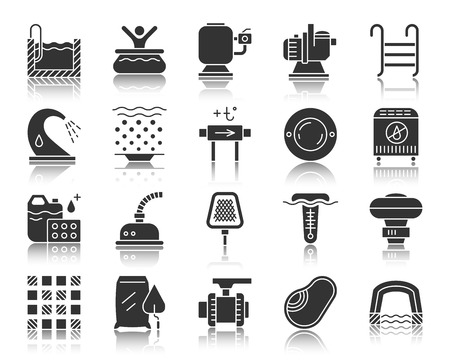 Swimming pool equipment silhouette icons set. Monochrome web sign kit of construction. Repair pictogram collection includes bowl, filter, pump. Simple vector black symbol. Pool icon with reflection