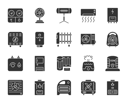 Hvac silhouette icons set. Isolated monochrome web sign kit of climatic equipment. Fan pictogram collection includes blower heating, ionizer, humidifier. Simple hvac symbol Vector Icon shape for stamp