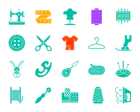 Sewing silhouette icons set. Isolated web sign kit of fashion. Embroidery pictogram collection includes velcro fastener, spool, thimble. Simple sewing contour symbol. Vector Icon shape for stamp Illustration