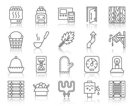 Sauna equipment thin line icons set. Outline web sign kit of bathhouse. Spa linear icon collection includes stone, accessories, boiler. Simple sauna contour symbol with reflection vector Illustration