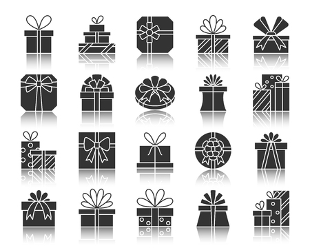 Gift boxes silhouette icons set. Monochrome web sign kit of bounty box. Present pictogram collection includes prize, bow, ribbon. Simple vector black symbol. Gift box shape icon with reflection Illustration