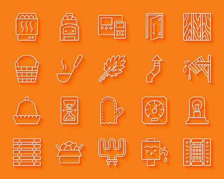Sauna equipment paper cut line icons set. 3D sign kit of bathhouse. Spa linear pictogram collection includes paneling, hourglass, electric heater. Simple sauna vector icon shape Material design symbol