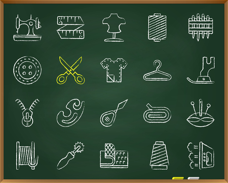 Sewing chalk icons set. Outline sign kit of fashion. Embroidery linear icon collection includes measuring tape, dummy, thread. Hand drawn by crayon simple sew symbol on chalkboard vector Illustration Illustration