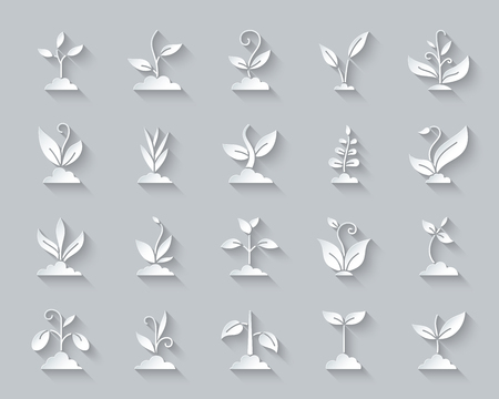 Grass paper cut art icons set. 3D web sign kit of plant. Sprout pictogram collection includes agriculture, seedling, sapling. Simple grass vector paper carved icon shape. Material design symbol