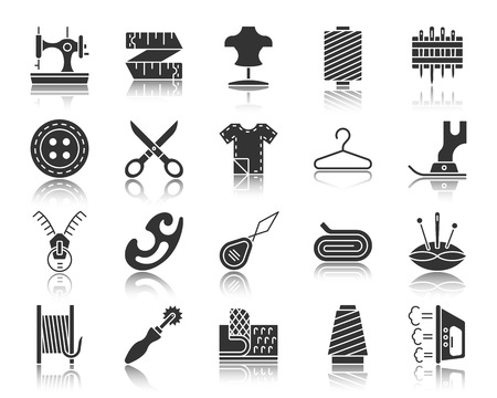 Sewing silhouette icons set. Monochrome web sign kit of fashion. Embroidery pictogram collection includes sewing machine, foot, scissors. Simple vector black symbol. Sewing shape icon with reflection