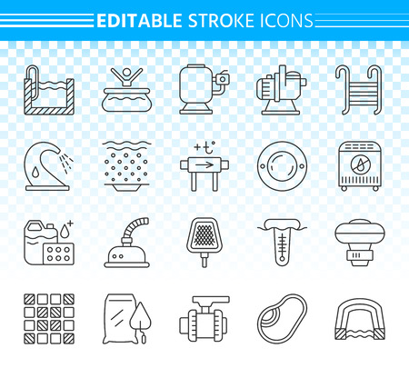 Swimming pool thin line icons set. Outline sign kit of spares. Repair equipment linear icon collection includes filter, pump, chemical dosing. Editable stroke without fill. Pool simple vector symbol