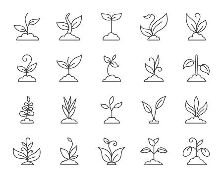Gras dunne lijn iconen set. Overzicht webteken kit van plant. Spruit lineaire pictogramcollectie omvat jonge boom, groei, struik. Eenvoudig gras zwart contoursymbool dat op wit wordt geïsoleerd. Vector illustratie