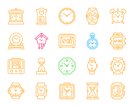 Watch thin line icons set. Outline monochrome web sign kit of alarm clock. Clock linear icon collection includes smart watch, bracelet, arrow. Simple watch symbol isolated on white Vector Illustration Illustration