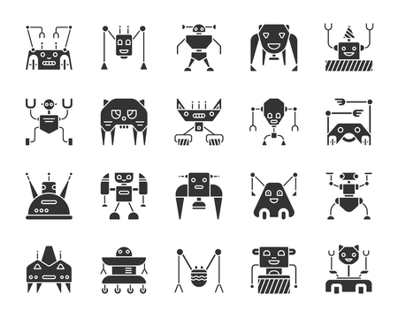 Robot black silhouette icons set. Isolated monochrome web sign kit of character. Transformer pictogram collection includes ai toy, spider, machine. Simple robot symbol. Vector Icon shape for stamp