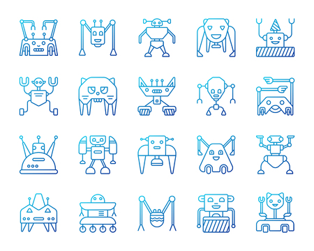 Robot thin line icons set. Outline vector web sign kit of character. Transformer linear icon collection includes toy, cyborg, android. Modern color gradient simple robot symbol isolated on white Illustration