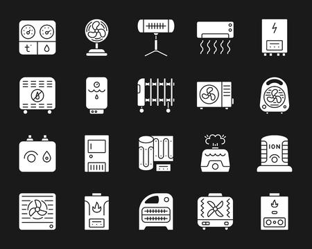 Set di icone di sagoma HVAC. Kit segno isolato di attrezzature climatiche. La raccolta di pittogrammi monocromatici della ventola include riscaldatore a infrarossi, condizionatore, ionizzatore. Semplice simbolo di contorno bianco. Icona di vettore HVAC Vettoriali