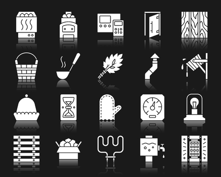 Sauna Equipment silhouette icons set. Isolated web sign kit of bathhouse. Spa pictogram collection includes chimney, hygrometer, heating element. Simple sauna symbol with reflection. White vector icon