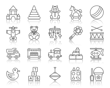 Baby toy thin line icons set. Outline web sign kit of children play. Kids game linear icon collection includes constructor, pyramid, horse. Simple baby toy symbol with reflection vector Illustration Illusztráció