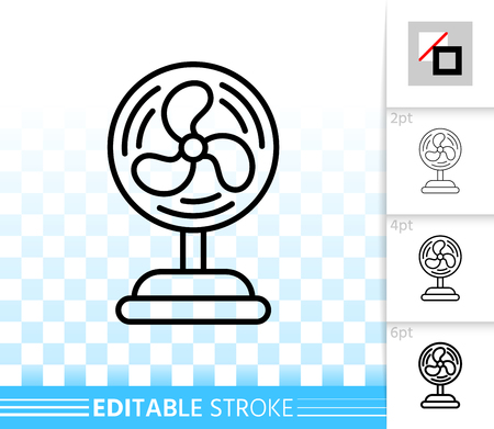 Blower thin line icon. Outline web sign of ventilator. Fan linear pictogram with different stroke width. Simple vector symbol, transparent background. Blower editable stroke icon without fill