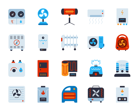 Hvac flat icons set. Web sign kit of climatic equipment. Fan pictogram collection includes hygrometer, humidifier, convector. Simple hvac cartoon colorful icon symbol on white. Vector Illustration