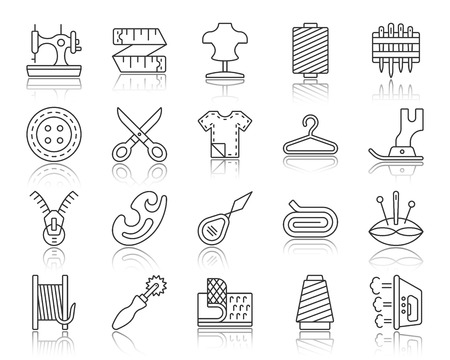 Sewing thin line icons set. Outline web sign kit of fashion. Embroidery linear icon collection includes button, scissors, fabric. Simple sewing black contour symbol with reflection vector Illustration