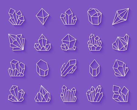 Kristallpapierschnittkunstlinien-Ikonensatz eingestellt. 3D-Zeichensatz aus Edelstein. Die Sammlung linearer Piktogramme umfasst Steine, Juwelen und Diamanten. Einfache Kristallvektorpapier geschnitzte Symbolform. Symbol für Materialdesign Vektorgrafik