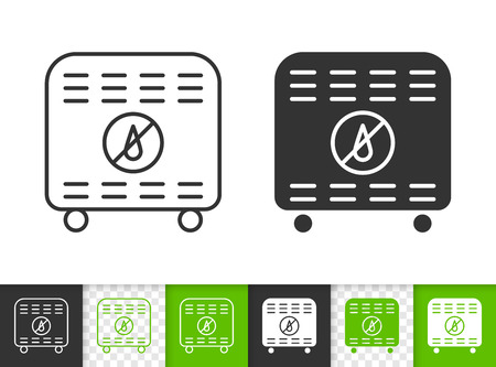 Dehumidifier black linear and silhouette icons. Thin line sign of air dryer. Desiccant outline pictogram isolated on white, color transparent background. Vector Icon Dehumidifier simple symbol closeup Illustration