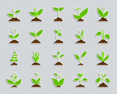 Grass sticker icons set. Web flat sign kit of plant. Sprout pictogram collection includes bio, eco, save nature. Simple grass symbol. Colorful icon for patch, badge, pin. Vector Illustration Illustration
