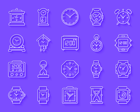 Watch paper cut art icons set. Web sign kit of alarm clock. Clock pictogram collection includes sand glass, timer, cuckoo pendulum clock. Simple watch vector carved icon shape. Material design symbol