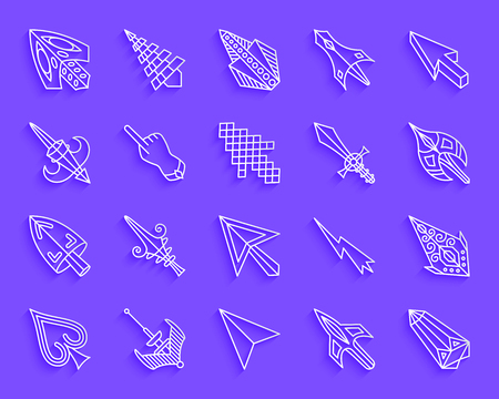 Mouse Cursor paper cut line icons set. 3D web sign kit of arrow. Click linear pictogram collection includes pointer, button, lightning. Simple mouse cursor vector icon shape. Material design symbol Illustration