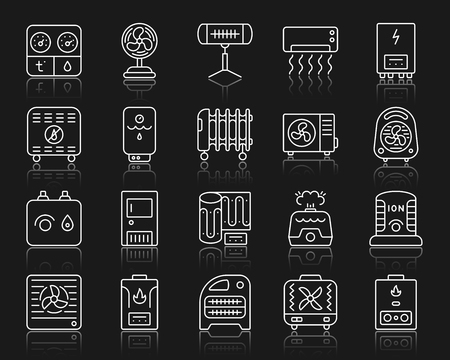 Hvac thin line icons set. Outline web sign kit of climatic equipment. Fan linear icon collection includes convector, oil cooler, heat floor. Vector simple hvac white contour symbol with reflection