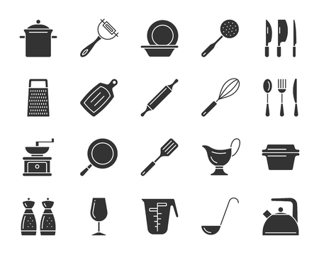 Kitchenware silhouette icons set. Isolated monochrome web sign kit of cookware. Dishware pictogram collection includes spoon fork knife, lid, pot. Simple kitchenware symbol Vector Icon shape for stamp