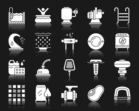 Swimming pool equipment silhouette icons set. Isolated sign kit of construction. Repair pictogram collection includes stairs, waterfall, geyser. Simple pool symbol with reflection. White vector icon