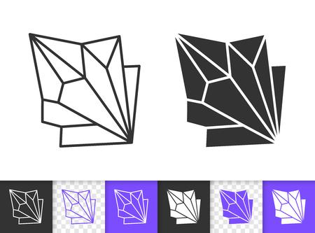 Icone lineari e silhouette nere in cristallo di zaffiro. Segno di linea sottile di gemma. Pittogramma di contorno minerale isolato su sfondo bianco, colore, trasparente. Forma dell'icona di vettore. Primo piano di cristallo semplice di simbolo Vettoriali