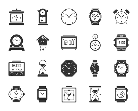 Watch silhouette icons set. Isolated monochrome web sign kit of alarm clock. Clock pictogram collection includes smart watch, bracelet, arrow. Simple pendulum clock symbol. Vector Icon shape for stamp