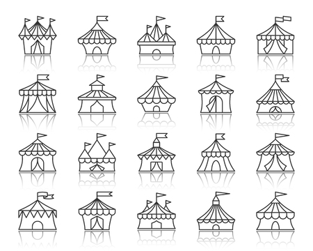 Ensemble d'icônes de fine ligne tente de cirque. Kit de signe web de contour du carnaval. La collection d'icônes linéaires de la canopée Cirque comprend un chapiteau, une bordure rayée, un auvent. Symbole de vecteur noir simple tente de cirque avec réflexion Vecteurs