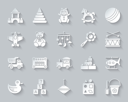 Baby Toy paper cut art icons set. Web sign kit of children play. Kids Game pictogram collection includes shovel, bucket, scoop. Simple baby toy vector paper carved icon shape. Material design symbol Illusztráció